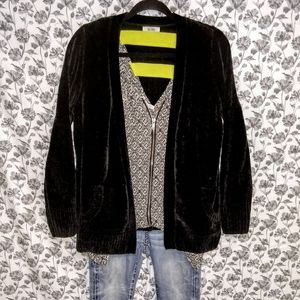 Mudd- Black/Chenille Knit Oversized Cardigan